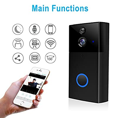 Gosund Video Doorbell Wi-Fi Enabled Doorbell Camera 720P HD Home Security Camera with Two-Way Talk & Video, Infrared Night Vision, PIR Motion Detection Wireless Doorbell for iOS and Android