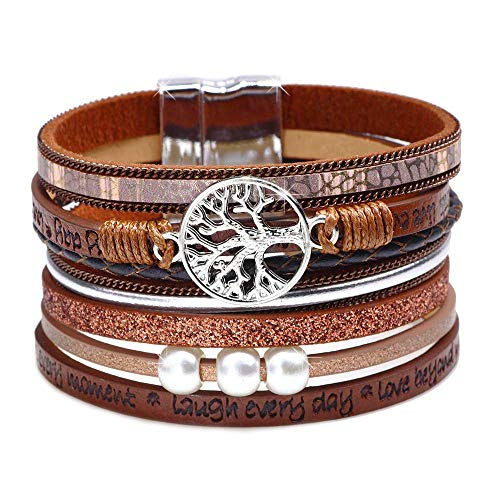 Womens Leather Cuff Bracelet - Braided Wrap Bangle Handmade Multi Layer Jewelry - with Alloy Magnetic Clasp - Bohemian Style (Tree of life-Brown)