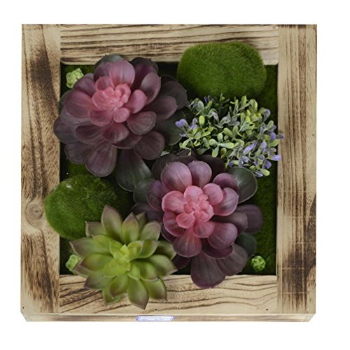 KAIMO Wall Hangings Artificial Succulents Fake Flowers Greenery Planter in Wood Frame Vase for Home Decoration, 11.8111.81 in (Wall Hanging Flower Arrangements)