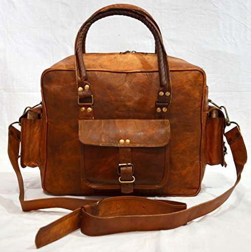 thehandicraftworld Vintage leather messenger Real goat hide satchel bag genuine laptop briefcase by thehandicraftworld