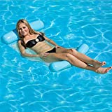 San Plan Water Hammock Pool Lounger Float Hammock Inflatable Rafts Swimming Pool Air Lightweight Floating Chair Compact and Portable Swimming Pool Mat for adults and Kids (Blue)