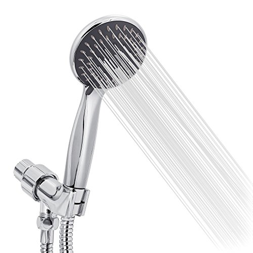 Handheld Shower Set, High Pressure Rainfall Shower Head with Long Hose - 5 Settings Chrome Finish Handheld and Fixed Shower Combo including Bracket, Teflon, Washer