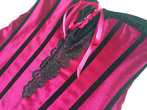 ZAMME Mujeres Rojo y Negro rayas encaje Top cintura adelgazar corsés Rose