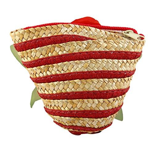 Bolsillo Tejida sourcing map De Cruzado Mujeres Monedero Hombro Bolsa Paja Solo Cesta Rojo Bolsa wwpBt