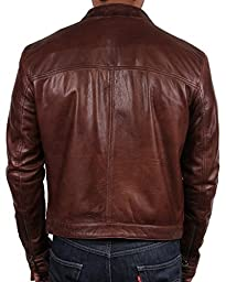 Brandslock Mens Biker Leather Bomber Jacket Coat Designer (2XL(fits Chest 44-46 inches), Brown)