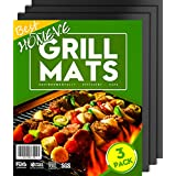 """BBQ Grill Mat - Non-Stick Mats (Set of 3), FDA-Approved, PFOA Free, Size 13"""" x 16"""", Black Color (3 Pack)"""