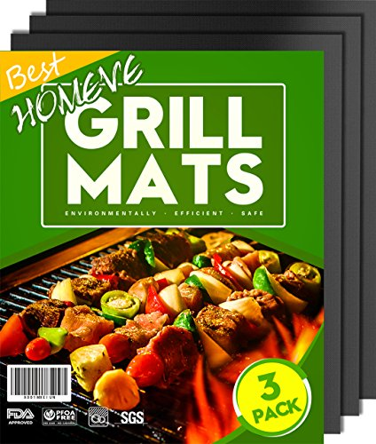 Best Price BBQ Grill Mat - Non-Stick Mats (Set of 3), FDA-Approved, PFOA Free, Size 13 x 16, Black...