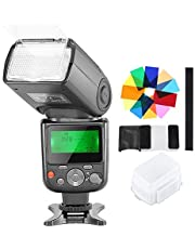 Neewer NW-670 TTL Speedlite Flash with Hard Diffuser,12 Color Filters,Microfiber Cleaning Cloth Kit for Canon 7D Mark II, 5D Mark II III, IV, 1300D,1200D,1100D,750D,700D and Other Canon DSLR Cameras