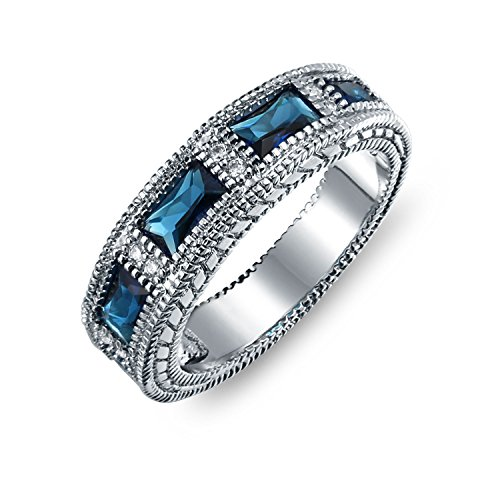 Bling Jewelry Deco Style Simulated Sapphire Baguette Wedding Band Rhodium Plated (Deco Baguette)