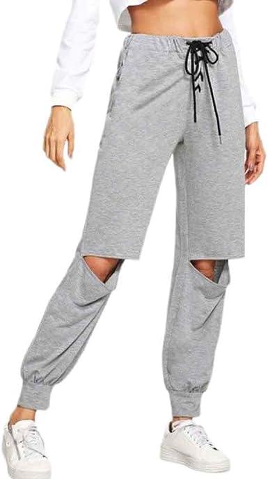 Greetuny Pantalones De Chandal Para Mujer Moda Pantalones Casual Rotos Anchos Personalidad Pantalones De Deporte Mujer Largos M Amazon Es Ropa Y Accesorios