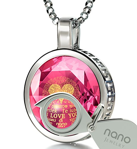925 Sterling Silver I Love You Necklace 120 Languages Gold Inscribed Pink Cubic Zirconia Pendant, 18