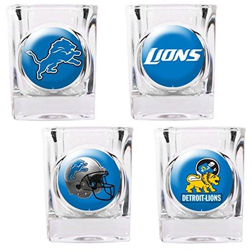 NFL Detroit Lions Four Piece Square Shot Glass Set (Individual Logos) (Lions Shot Glass Set)