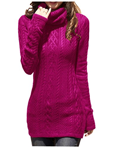 v28 Women Polo Neck Knit Stretchable Elasticity Long Sleeve Slim Sweater Jumper (US Size 0-4, Plum)