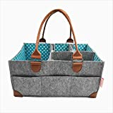 Baby Diaper Caddy - Nursery Storage Bin and Car Organizer for Diapers and Baby Wipes, Baby Shower Gift - by Coral + Cotton (Teal)