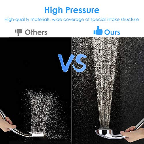 bedee Shower Head with 2M Hose, High Pressure Universal Handheld Showers with 7 Mode Adjustable Switch for Bath Pet Baby Shower, Self Cleaning Pressure Boosting Power Shower Head for Hard Water Area