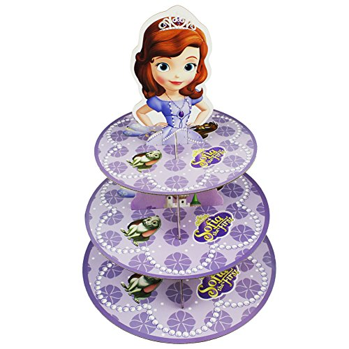 Betop House 3-Tire Princess Sofia Themed Party Cupcake Dessert Stand (Sofia The First Cupcake Stand)