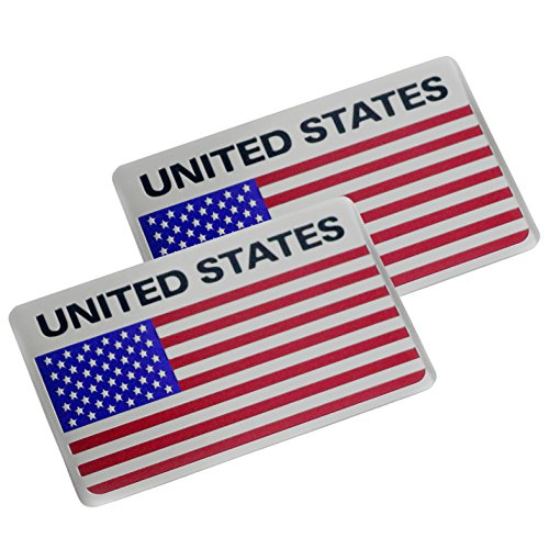 (2X USA United States Flag The Stars and The Stripes Emblem Badges Aluminum United States Flag Car Sticker Decal for Universal)