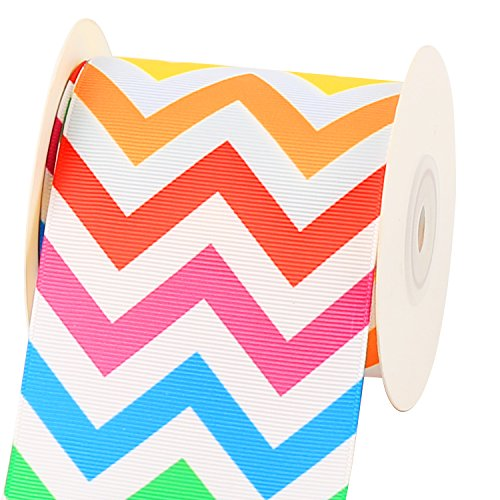 Laribbons 3 inch Wide Chevron ZigZag Printed Grosgrain Ribbon by 10 Yard Spool ( 008 Rainbow )