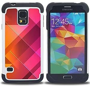BullDog Case - FOR/Samsung Galaxy S5 I9600 G9009 G9008V / - / CLEAN POLYGON ORANGE PURPLE PATTERN /- H??brido Heavy Duty caja del tel??fono protector din??mico - silicona suave