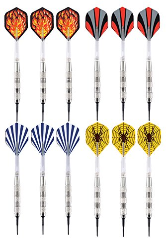 Learn More About Vopa 17 Grams 12 Pack Soft Tip Dart Set with 4 Styles Dart Flights and 24 Plastic S...
