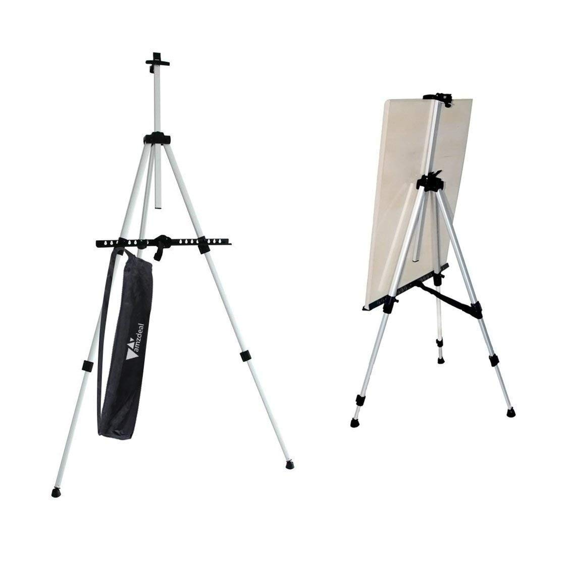 Amzdeal Easel Art Easel Stand Collapsible Aluminum Easel Adjustable Height from 60-162cm with Carry Bag for Outdoor Sketching Painting a1 a2 a3 Canvas Boards Posters Pictures Displaying (Silver)
