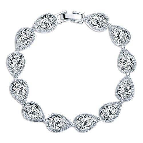 MASOP Women's Silver-tone Clear CZ Cubic Zirconia Pear Shape Teardrop Bracelet Bangle Chain