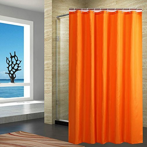 Fanjow Fabric Shower Curtain Water Repellent Bathroom Shower Curtain Solid Color Polyester Bath Curtain With 12 Hooks, Fashion Decorative Shower Curtain (72Wx72L, Orange)
