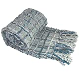"""BOON Multi-Color Chenille Couch Throw Blanket, 50"""" x 60"""", Grey/Blue"""