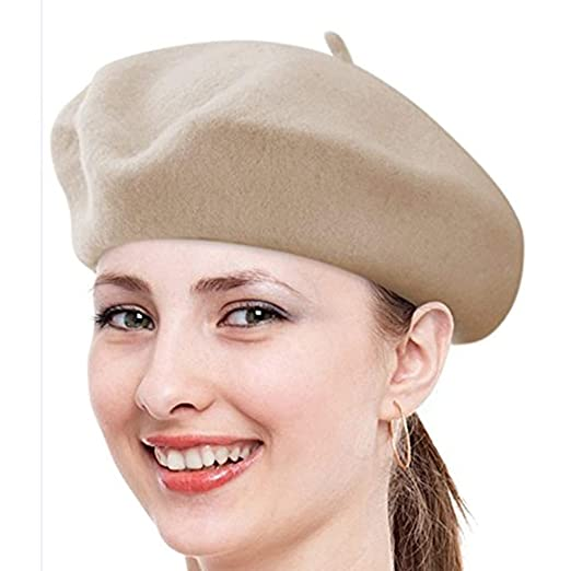 Classic Lady Women Warm Wool Blend French Artist Beret Beanie Winter Hat  Ski Cap (Beige e8f49f651327