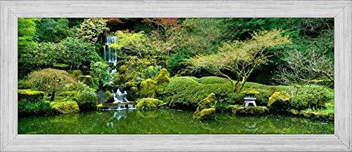 - Easy Art Prints Panoramic Images's 'Waterfall in a Garden, Japanese Garden, Washington Park, Portland, Oregon, USA' Premium Framed Canvas Art - 32