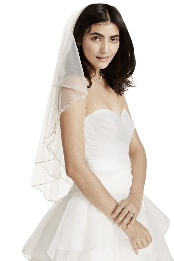 Two Tiered Veil with Beaded Stitched Edge Style V981, White
