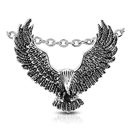 Stainless Steel 2 Color Bald Eagle Invisible Bail Pendant (Eagles Two Bald)