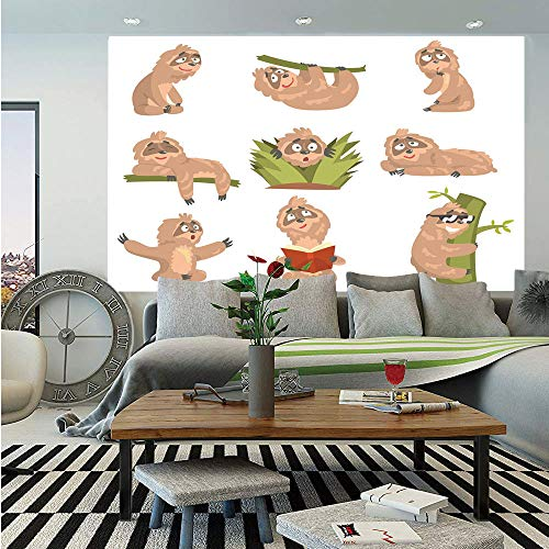 Sloth Removable Wall Mural,Animal Cute Cartoon Character Different Situations Emotions Funny Scared Cool,Self-Adhesive Large Wallpaper for Home Decor 66x96 inches,Light Brown -