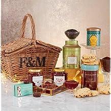 Fortnum & Mason The Mini Huntsman Basket (British Tea, Gift Hamper) include Assam Superb, Breakfast Coffee, Marmalade, Shortbread, Chocolates