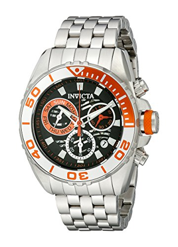 200m Orange Dial Stainless Bracelet - Invicta Men's 14726 Pro Diver Analog Display Swiss Quartz Silver Watch