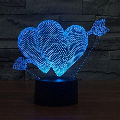 NIEBC RGB 3D 7Color Gradual Changing LED Touch Switch Visualization Illusion Atmosphere Light Desklamp Nightlight Arrow Through Heart