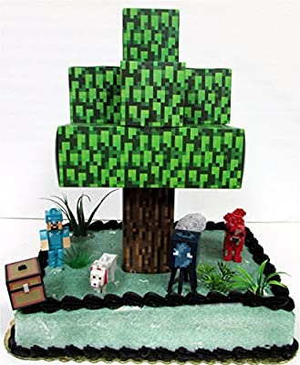 Minecraft 10 Piece Birthday Cake Topper Featuring 5 RANDOM Character Figures, Tree and Other Decorative Themed Accessories