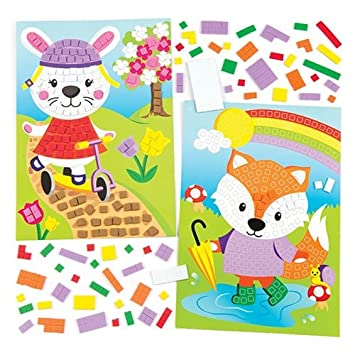 Pack of 4 Baker Ross Mosaic Rainbow Foam Magnet Kits for Children to Decorate and Display