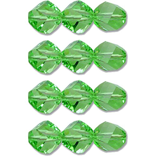 (12 Peridot Helix Made With Swarovski Crystal Beads 5020 6mm New)