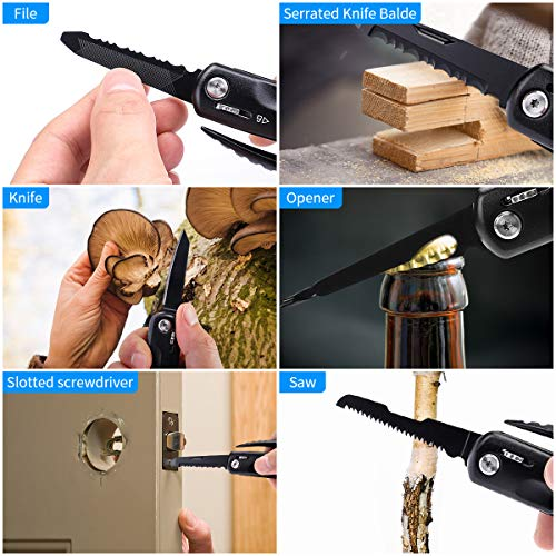 Multitool Hammer, Morpilot 12-IN-1 Survival Hammer Foldable Multifunctional Tool for Outdoor Camping Hiking Household,Survival Gear, With Nylon Sheath