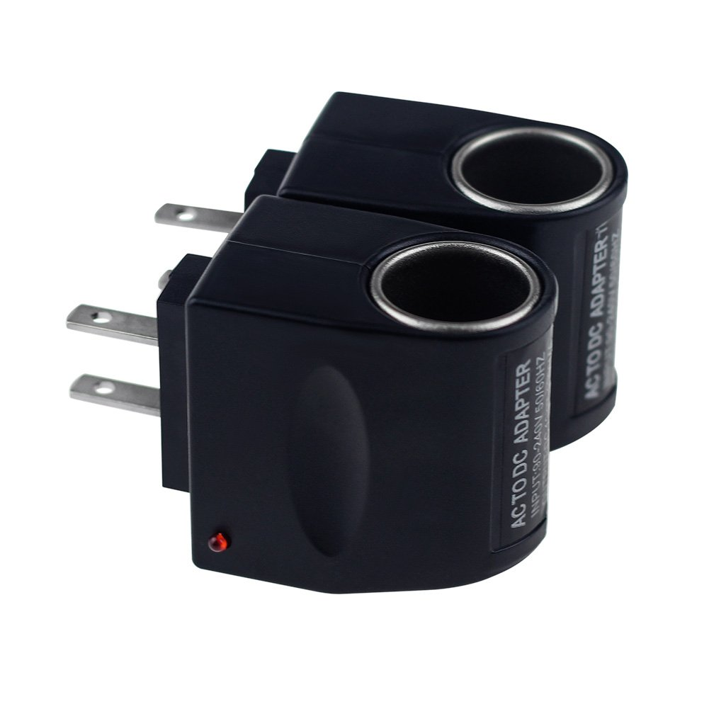 Qi Mei 2 Pack Cigarette Lighter Socket Adapter AC to DC Car and Household Universal,90~240V Mains to 12V (Black)