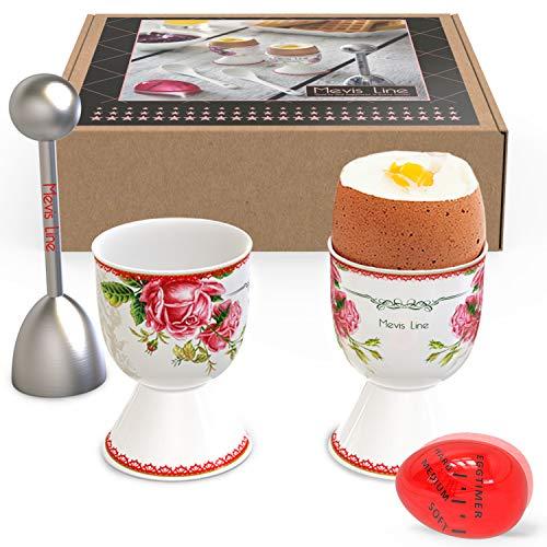 Mevis Line Egg Cups and Topper Cracker Set | Soft Hard Boiled Egg Cooker Tool | Includes 2 Eggs Holder With German Rose Design, 1 Egg Timer and 1 SS Egg Topper ()