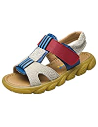 Bumud Casual Leather Open Toe Outdoor Sandals for Boys Girls(Toddler/Little Kid)