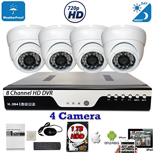 Fixed Video Door Station (Evertech 8 CH Channel HD DVR w/ 4 pcs 4in1 AHD TVI CVI ANALOG 720P Fixed Iris Lens HD Dome CCTV Home Security Camera System Set w/ 1TB Hard Drive)