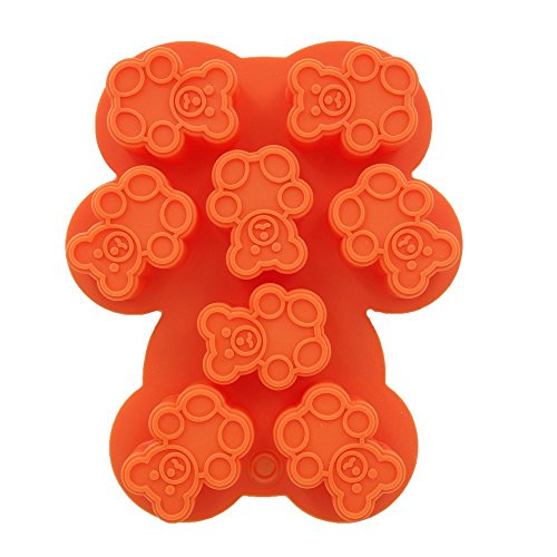 CECIINION Chocolate Candy Soap Mold, Silicone Baking Molds Bear Style ( Red / Orange / Green Randomly)