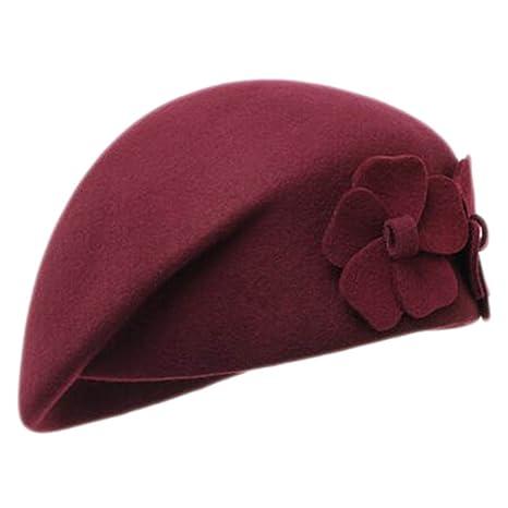 df613f41eb106 Amazon.com   George Jimmy British Style Hat Female Fashion Retro Flower  Stewardess Beret Cap-Burgundy   Sports   Outdoors