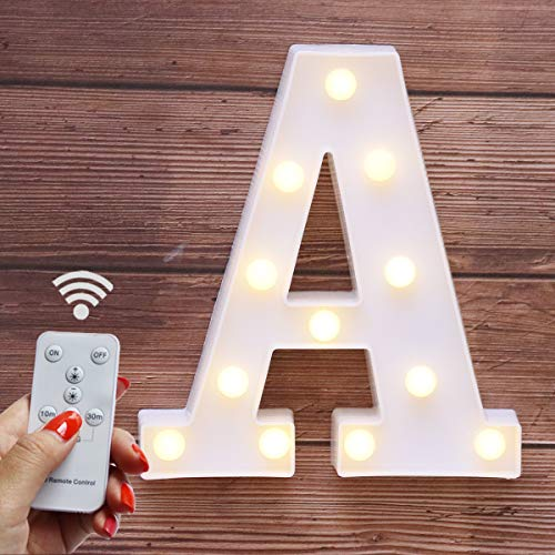 Elnsivo LED Marquee Letter Lights 26 Alphabet Light Up Name Sign Remote Control Letter Lamp for Wedding Birthday Party Battery Powered Christmas Lamp Home Bar Decoration (Letter A-Remote ()