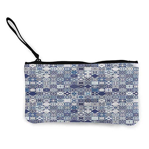 Canvas Print Wallet Moroccan,Patchwork Squares W8.5
