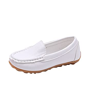 Kids Boys Girls Children PU Peas Shoes Slip On Flat Loafers Casual Soft