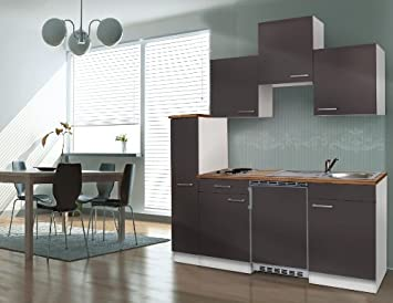 Miniküche Mit Kühlschrank 180 Cm : Respekta kb wg küchenzeile küchenblock mini single küche cm